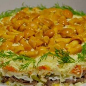 Ошеломите всех праздничным салатом с языком и грибами